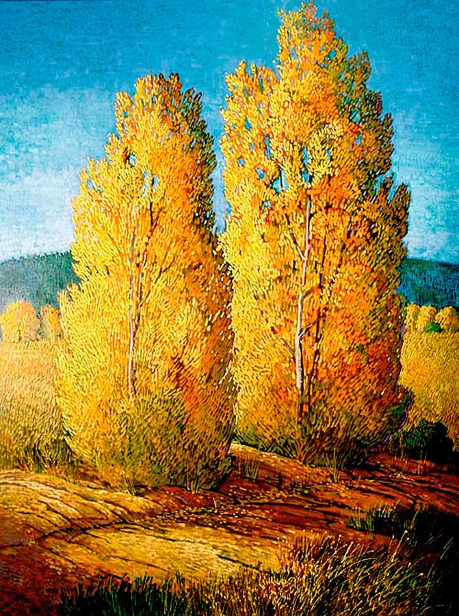 New Mexico Painting - Dos Arboles De Taos by Donna Clair