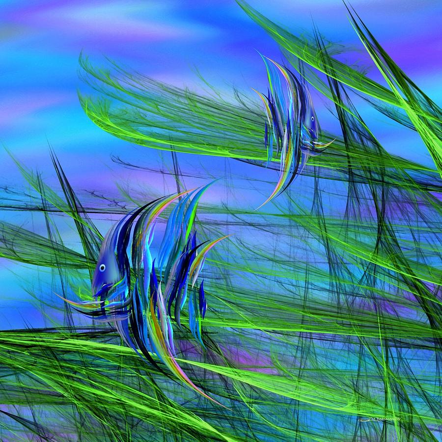 Abstract Impressionism Digital Art - Dos Pescados En Salsa Verde by Wally Boggus