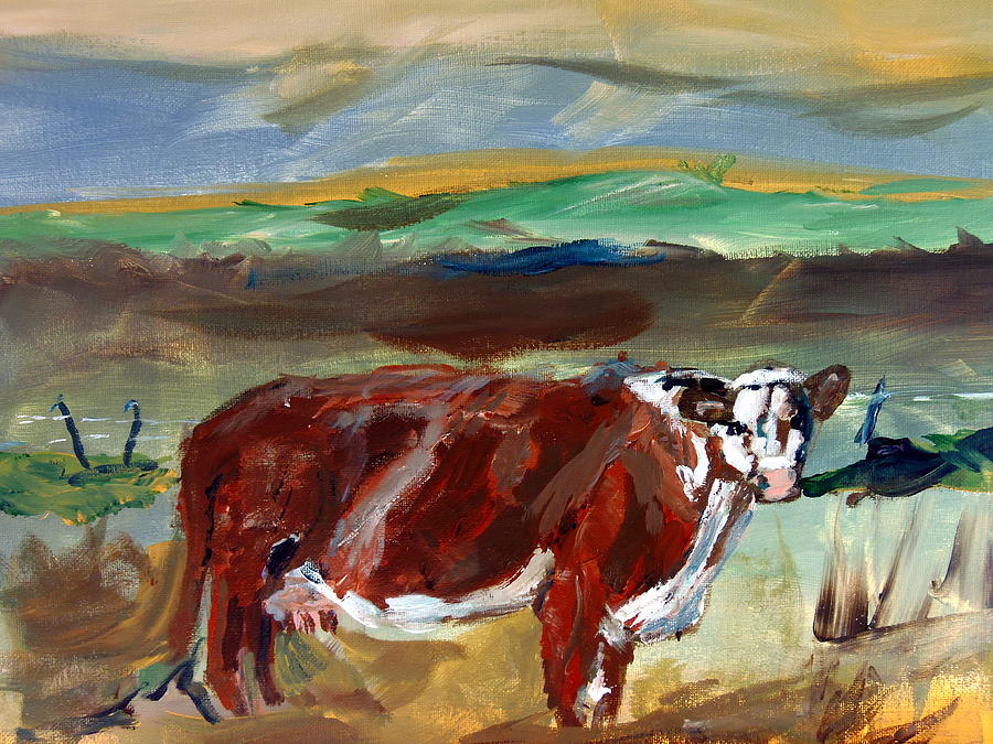 White Face Cow Painting - Doster Road Whiteface by Max Bowermeister