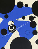 Contemporary Painting - Dot Blue by Susan-Angelo  DeBay