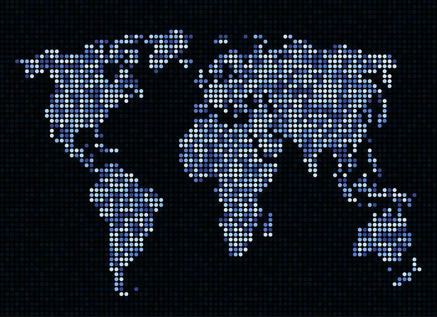 Map Digital Art - Dot Map of the World - blue by Michael Tompsett