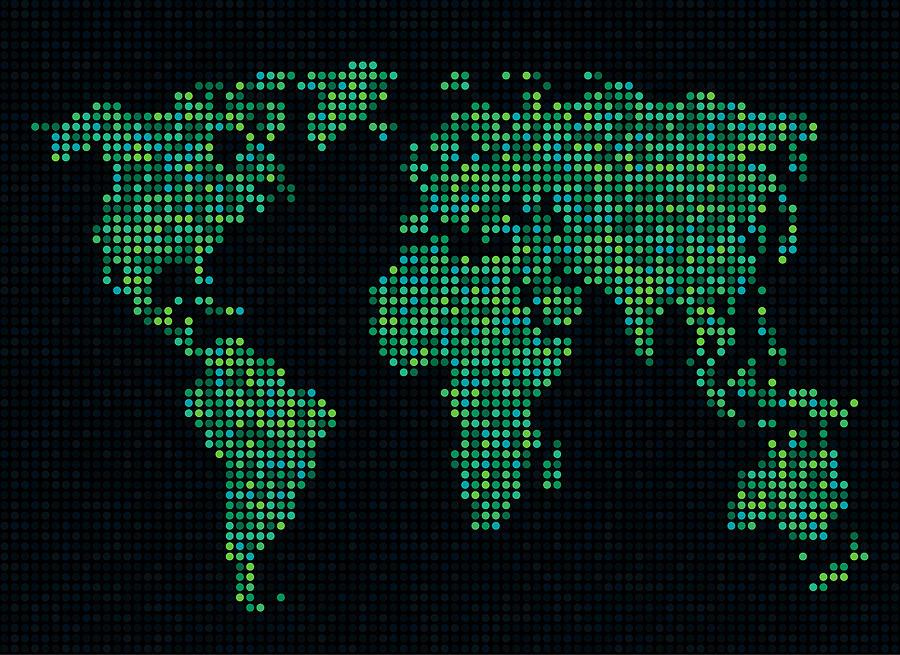 Map Digital Art - Dot Map Of The World - Green by Michael Tompsett