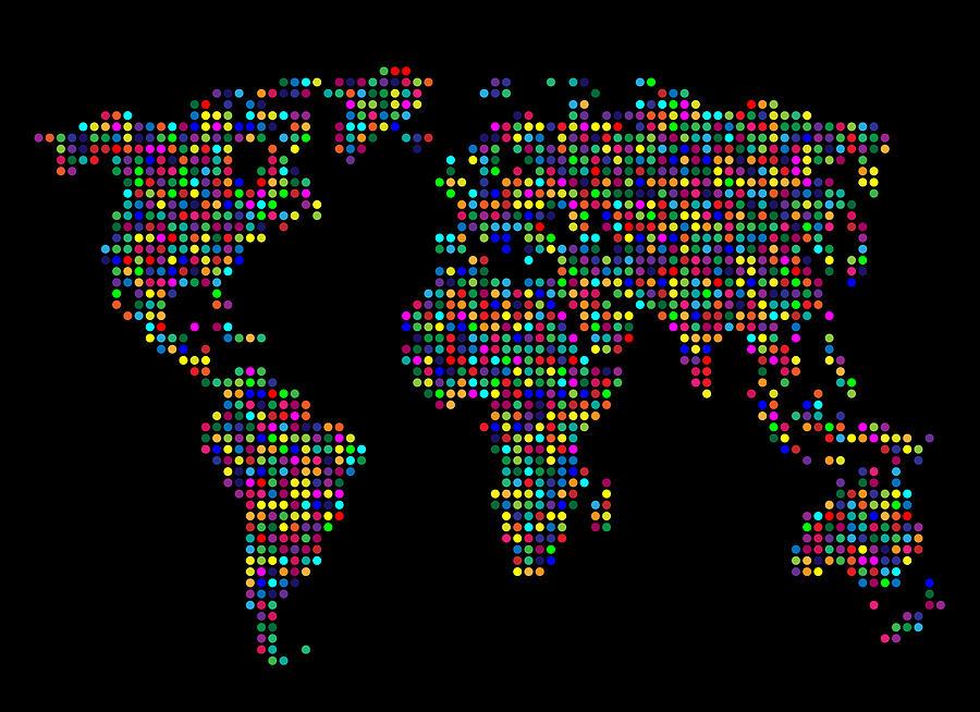 Map Digital Art - Dot Map of the World - multi colours by Michael Tompsett