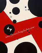 Contemporary Painting - Dot Red by Susan-Angelo  DeBay