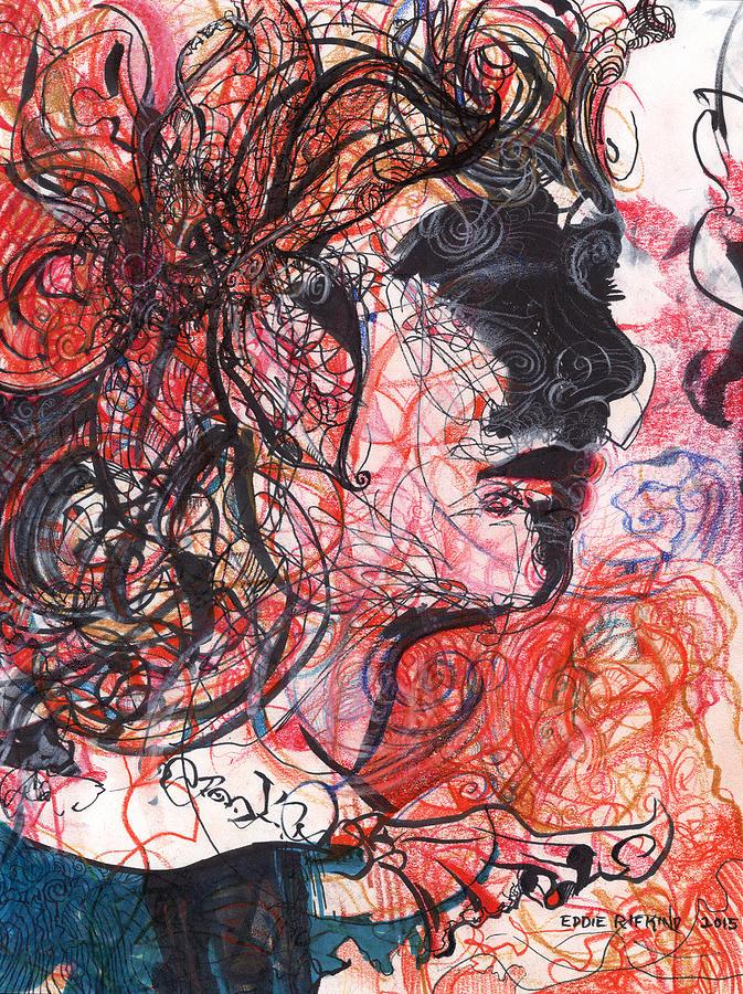 Expressionist Drawing - Dottie Lux by Eddie Rifkind