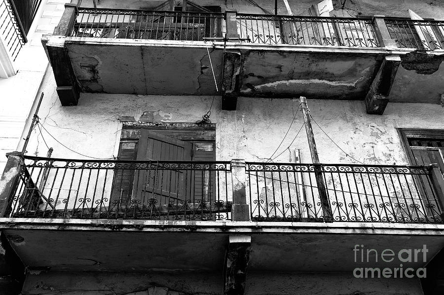 Panama City Architecture Photograph - Double Balconies In Panama City Mono by John Rizzuto