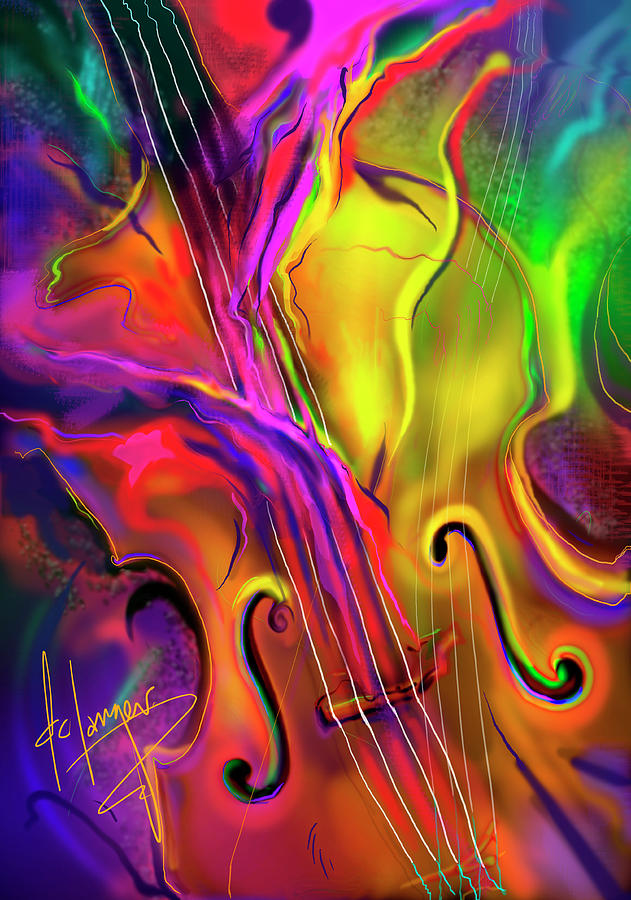 Guitar Painting - Double Bass Solo by DC Langer