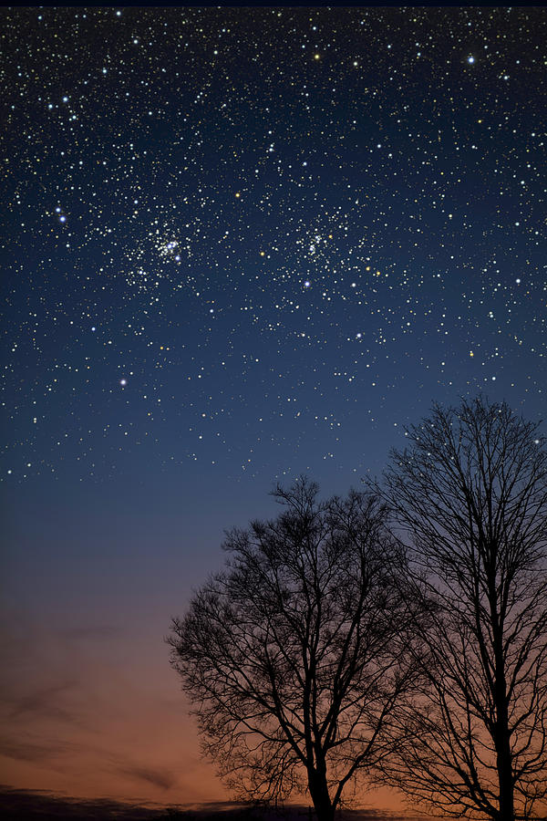 Stars Photograph - Double Cluster Sunset by Charles Warren