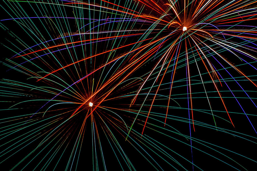 Fireworks Photograph - Double Fireworks by Lonnie Paulson