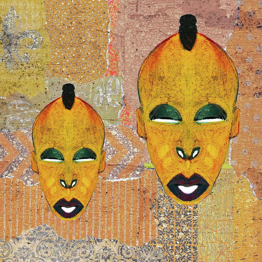 Double Digital Art - Double Mask Collage by Regina Wyatt