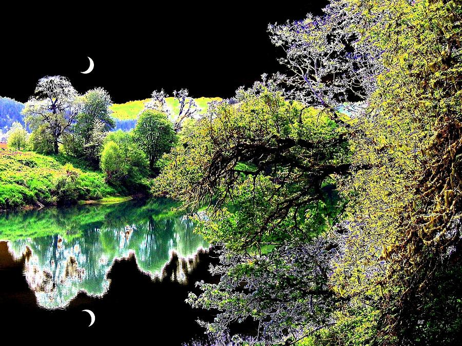 Umpqua River Digital Art - Double Moon by Will Borden