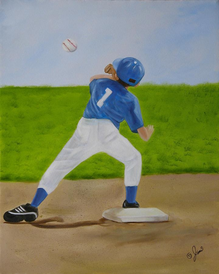 Sports Painting - Double Play by Joni McPherson