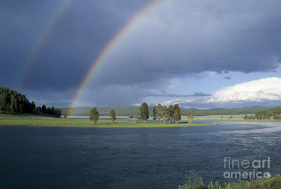 Yellowstone Photograph - Double Rainbow At Alum Creek by Sandra Bronstein