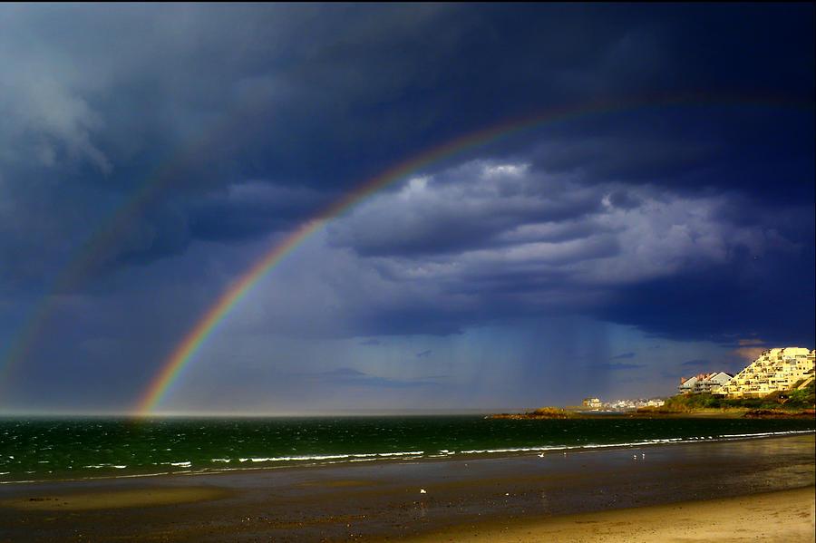 Double Rainbow at Nantasket Beach by Bart Blumberg