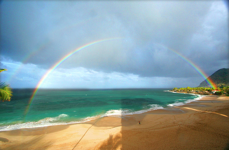 Hawaii Photograph - Double Rainbow Over Turtle Beach by Vicki Hone Smith