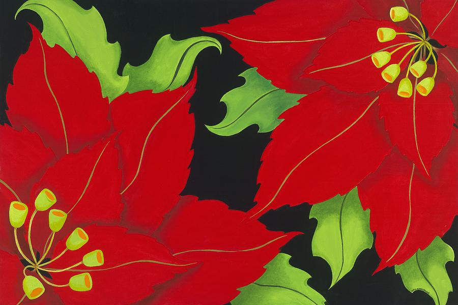 Acrylic Painting - Double Red Poinsettias by Carol Sabo