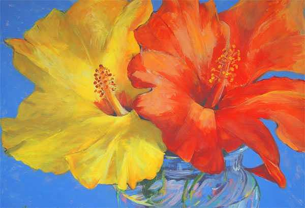 Hibiscus Painting - Double Take by Betty Cummings
