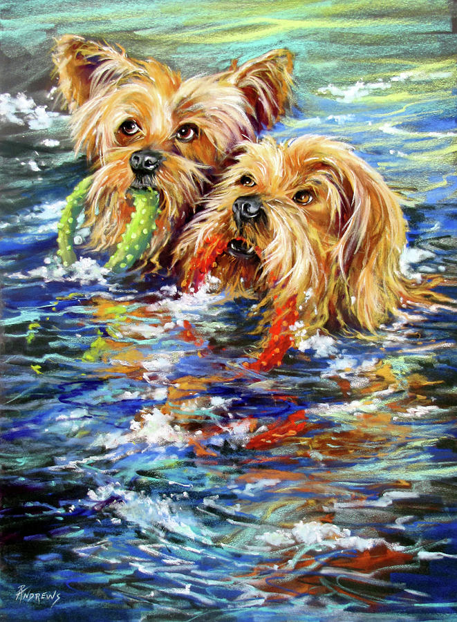Dogs Painting - Double The Trouble by Rae Andrews