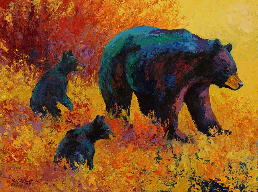 Bear Painting - Double Trouble - Black Bear Family by Marion Rose