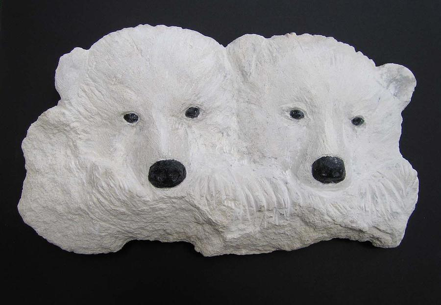 Polar Bear Cubs Sculpture - Double Trouble by Harriet Greene