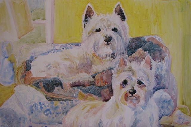 West Highland White Terrier Painting - Double Trouble by Nancy Henkel Schulte