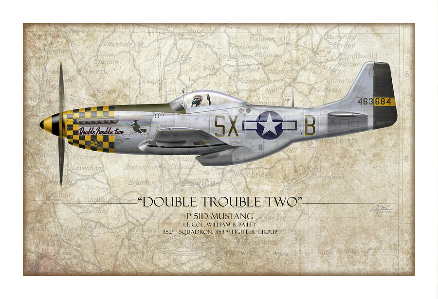 Double Trouble Two P-51D Mustang - Map Background by Craig Tinder
