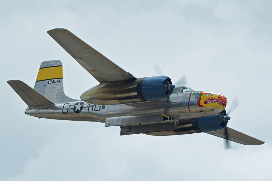 Airplane Photograph - Douglas A-26b Invader Nl99420 Silver Dragon Chino California April 30 2016 by Brian Lockett