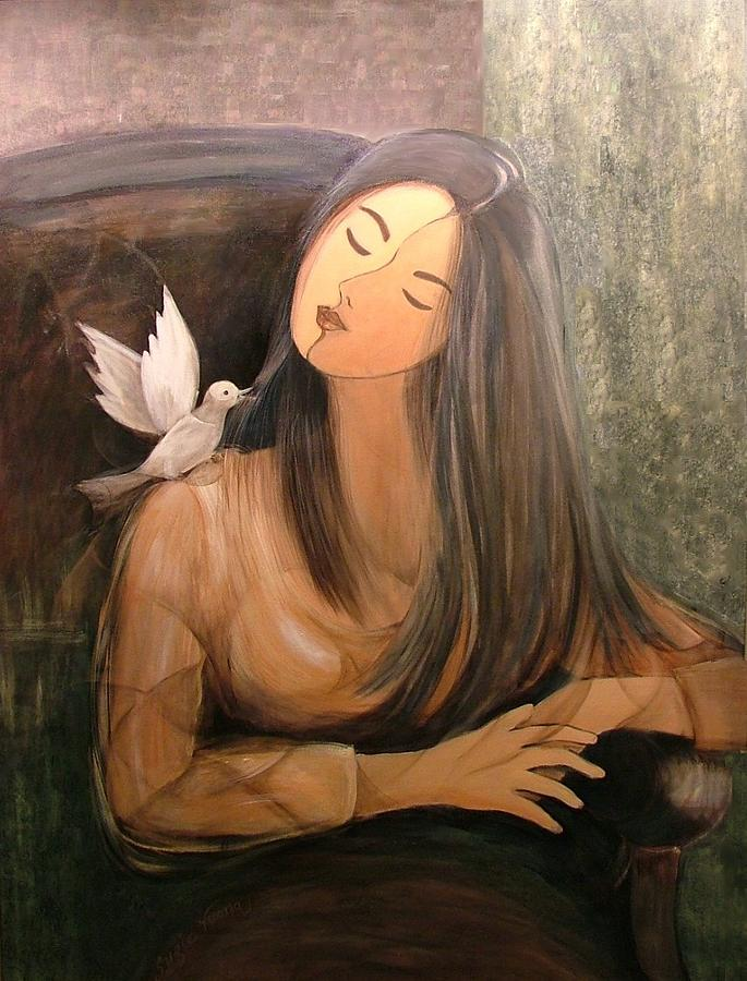 Dove And Dreamer Painting by Suzie Vuong