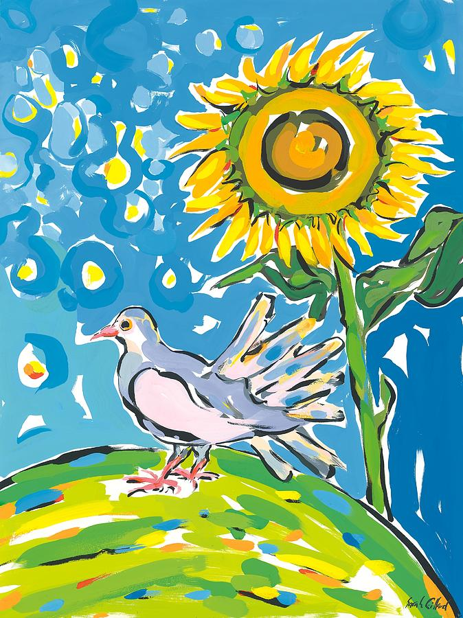 Dove And Sunflower Painting by Sarah Gillard