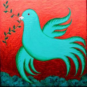 Tile Ceramic Art - Dove by Lana Cheng