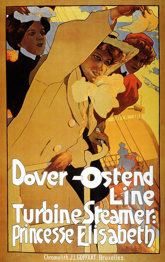 Dover Ostend Line - Turbine Steamer - Princess Elisabeth - Vintage Advertising Poster Mixed Media