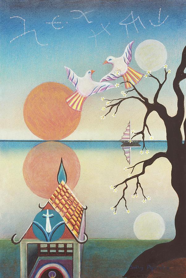 Sun Mixed Media - Doves With Sun by Sally Appleby