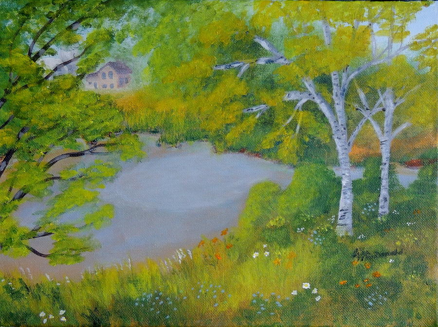 Landscape Painting - Down by the River by Lisa MacDonald