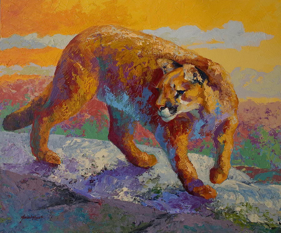 Mountain Lion Painting - Down Off The Ridge - Cougar by Marion Rose