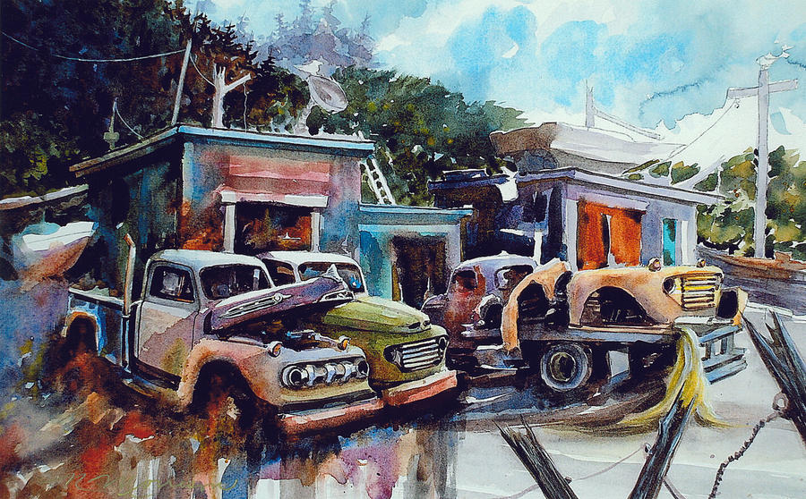 Trucks Painting - Down on the Lower Road by Ron Morrison