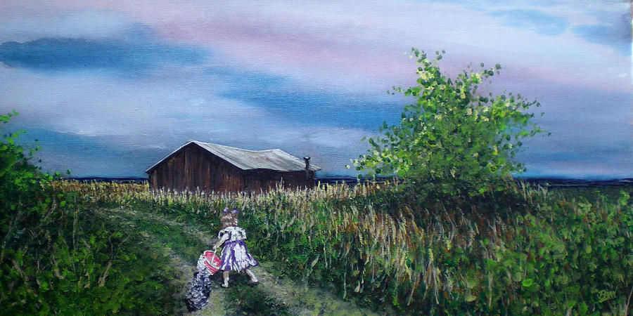 Impressionist Painting - Down The Lane by Bill Brown