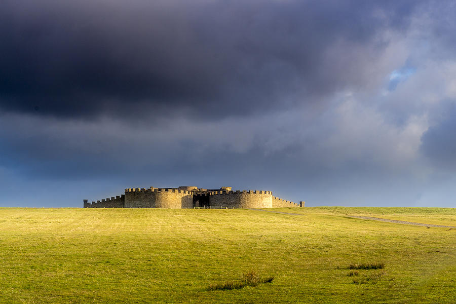Landscapes Photograph - Downhill Demense hall in Gold by Glen Sumner