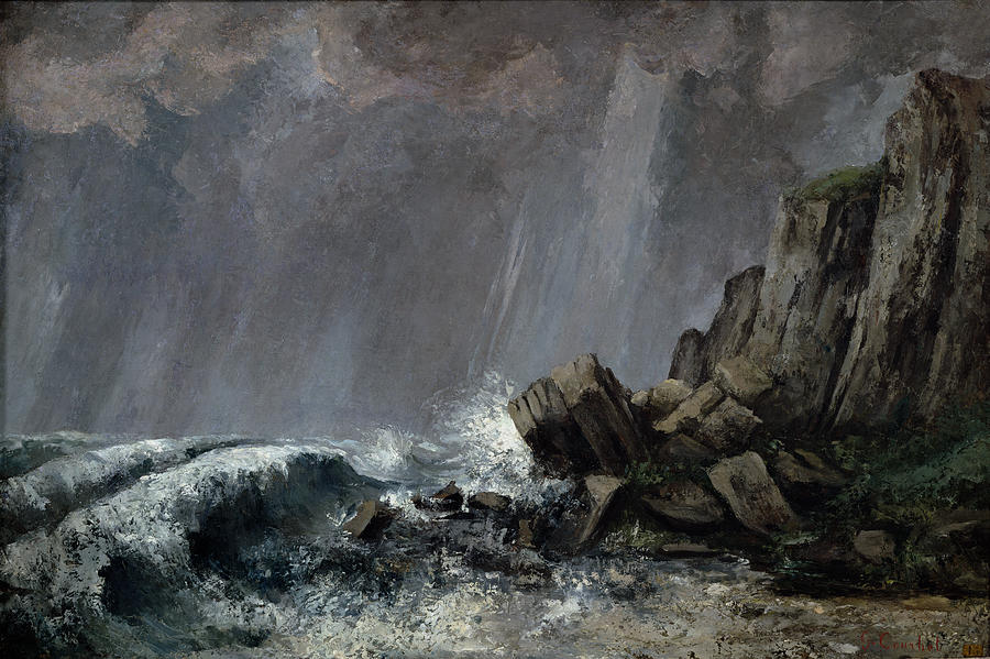 Downpour Painting - Downpour At Etretat  by Gustave Courbet