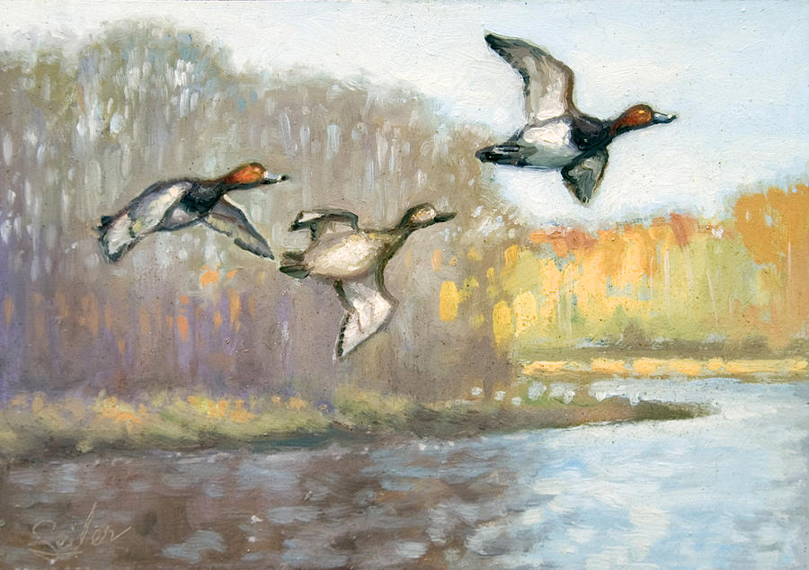 Ducks Painting - Downriver Redheads by Larry Seiler