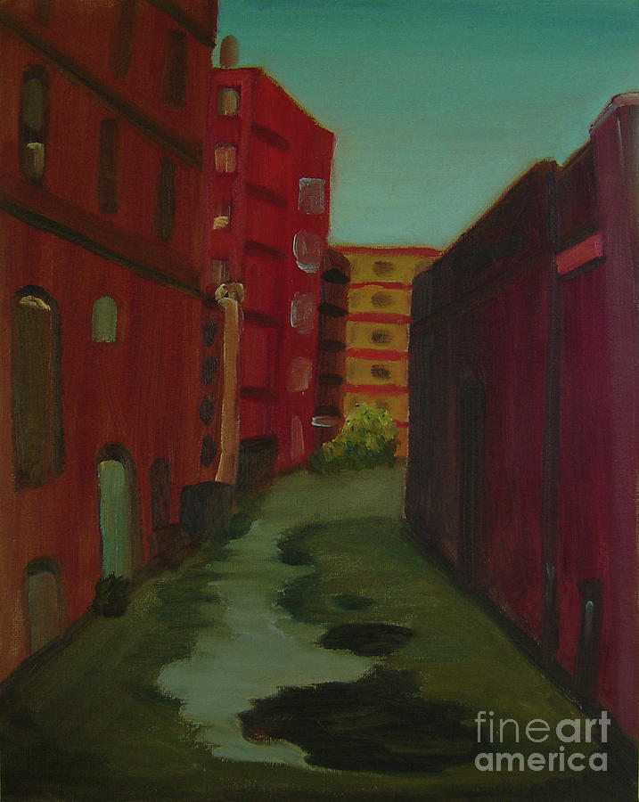 Maine Painting - Downtown Alley-portland Maine by Lilibeth Andre