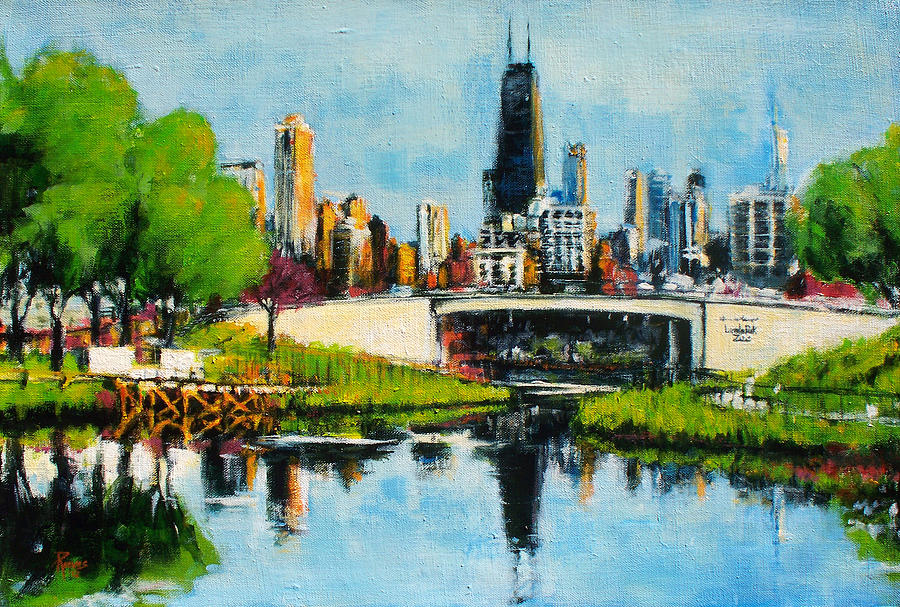 Downtown Chicago From Lincoln Park Painting By Robert Reeves