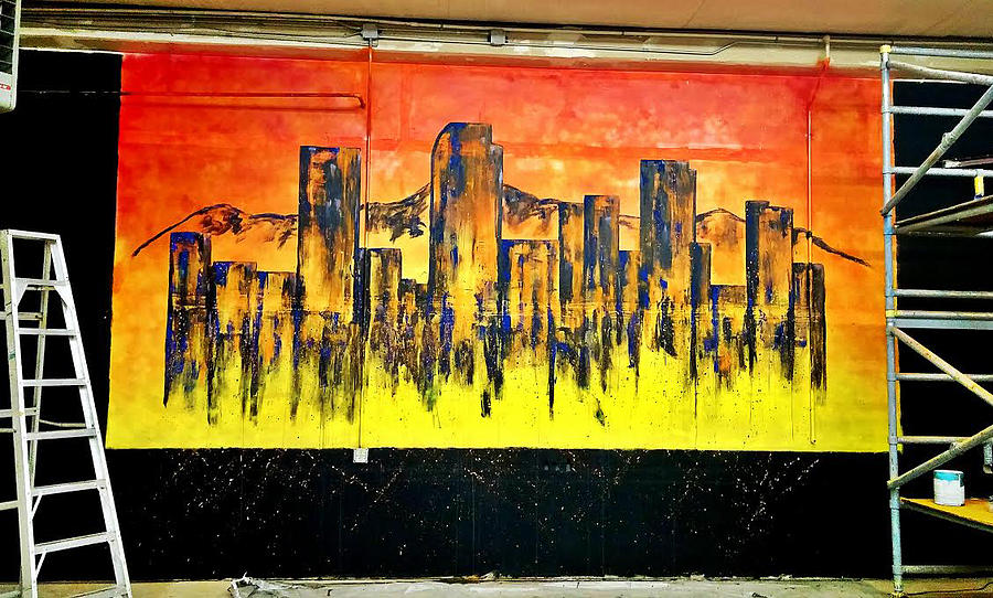 Downtown Denver Abstract Wall Mural Painting by Jennifer Morrison ...