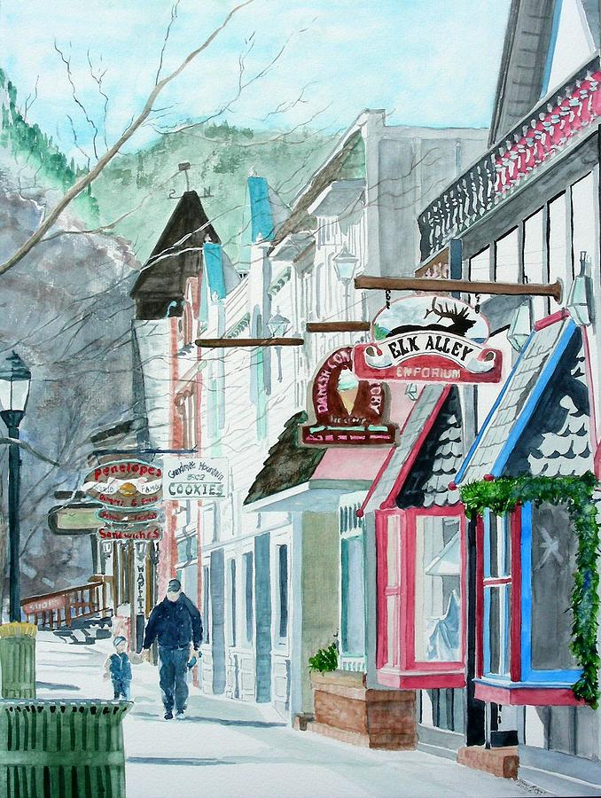 Downtown estes park winter painting by tom riggs for Winter park colorado cabins