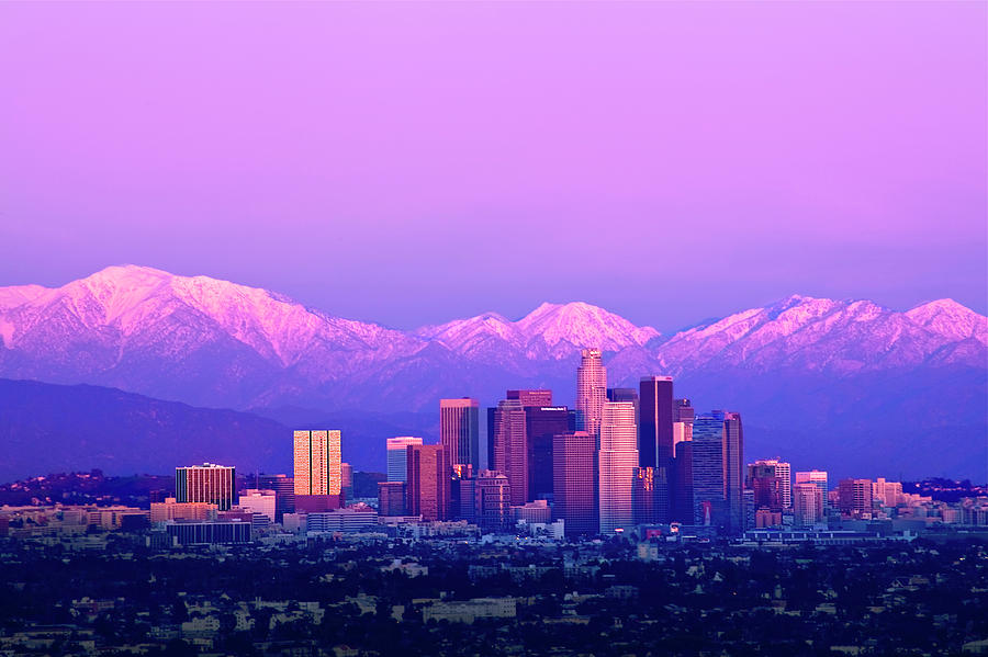 Horizontal Photograph - Downtown Los Angeles In Winter by Andrew Kennelly