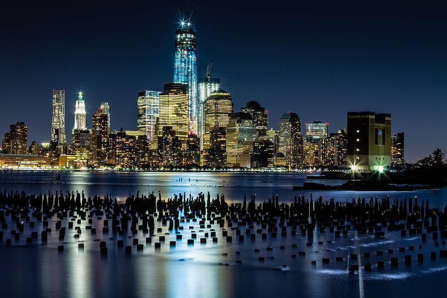New York Photograph - Downtown Manhattan And Old Pier Remains by Val Black Russian Tourchin