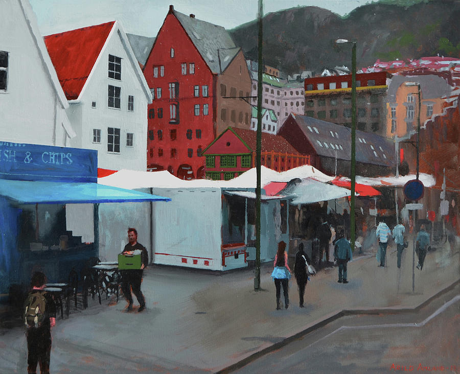 Downtown Painting - Fish Market by Arild Amland