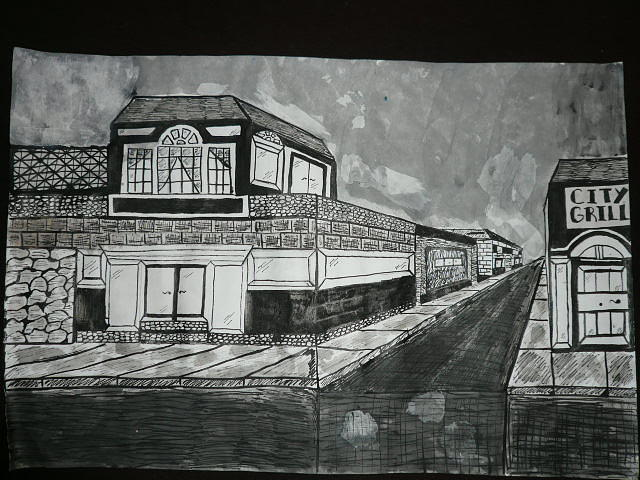 Downtown Drawing by Nicho Laus
