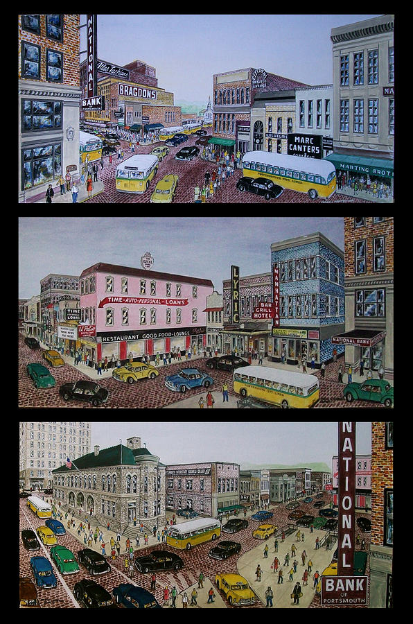 Downtown Portsmouth 1948 Painting by Frank Hunter