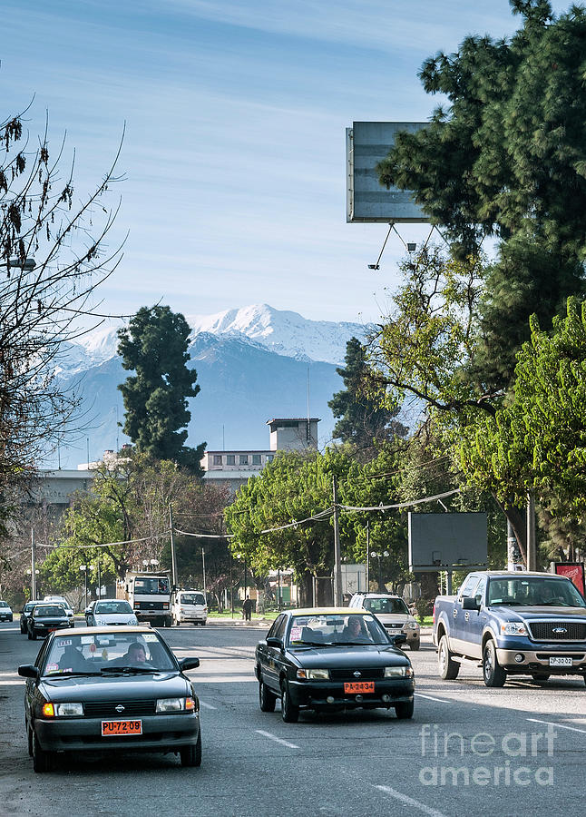 Andes Photograph - Downtown Street In Santiago De Chile City And Andes Mountains by Jacek Malipan