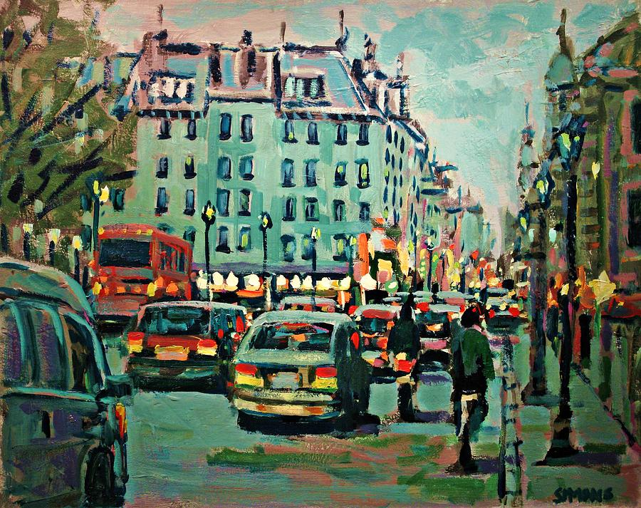Landscape Painting - Downtown Traffic by Brian Simons